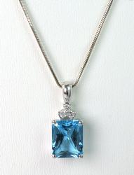 14KT Blue Topaz Pendant & Chain with Diamond Accents