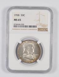 MS65 1958 Franklin Half Dollar - Mint Set - Toned - Graded NGC