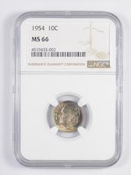 MS66 1954 Roosevelt Dime - TONED - Graded NGC