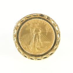 14K Yellow Gold 2006 $5 American Eagle Coin Ornate Scrollwork Ring