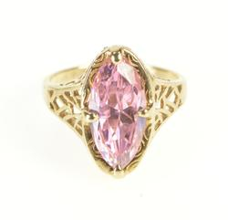 10K Yellow Gold Marquise Pink Cubic Zirconia Filigree Cocktail Ring