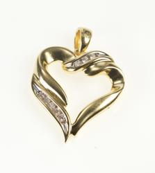 14K Yellow Gold Diamond Inset Classic Wavy Heart Love Pendant