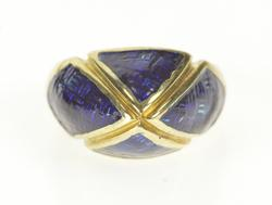 14K Yellow Gold Blue Enamel Retro 1960's Pointed Statement Ring