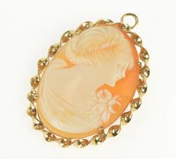 14K Yellow Gold Twist Trim Ornate Carved Shell Cameo Pendant/Pin
