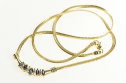 10K Yellow Gold Marquise Sapphire Diamond Herringbone Chain Necklace
