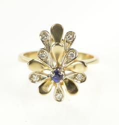 14K Yellow Gold Floral Sapphire Diamond Petal Cocktail Ring