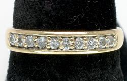 14KT Diamond Band Ring, Size 6