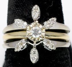 Sunburst Diamond Ring Set in 14KT White Gold