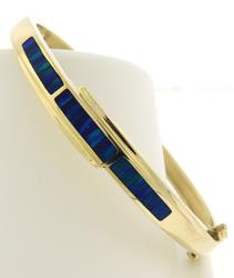 Beautiful Yellow Gold Opal Inlay Bracelet