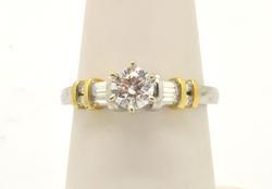 LADIES PLATINUM AND 18 KT GOLD DIAMOND ENGAGEMENT RING