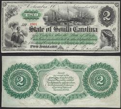Beautiful Obsolete $2 1873 South Carolina Unc.