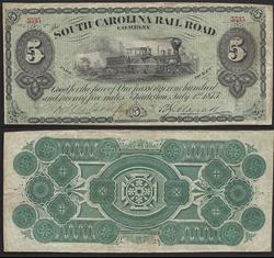 $5 South Carolina Railroad ticket Very collectible