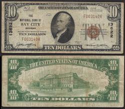 $10 1929 NBN Bay City MI Ch.13622