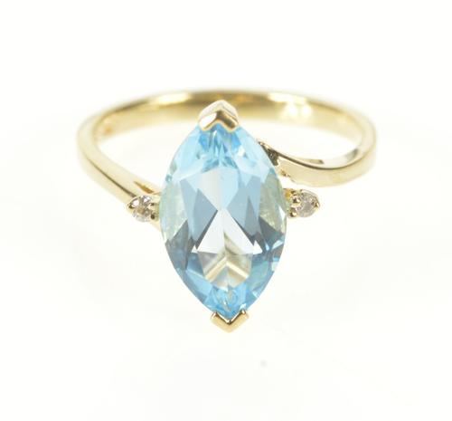 10K Yellow Gold Marquise Blue Topaz Diamond Accent