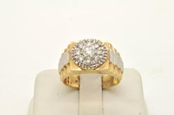 MENS 14 KT TWO-TONE DIAMOND RING