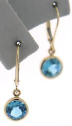 Fabulous Blue Topaz Bezel Set Dangle Earrings