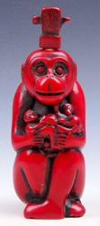 Monkey King Holding Baby Monkeys Coral Red Glazed