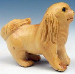 Hand Carved Lovely Dog Japanese Netsuke Sculpture
