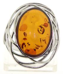 Amber Sterling Silver Ring