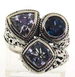 Vintage Blue Topaz and Sapphire Ring