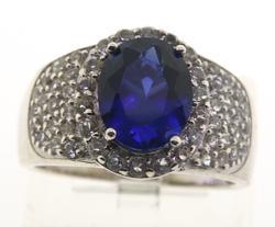 Sterling Silver Blue Gemstone Ring