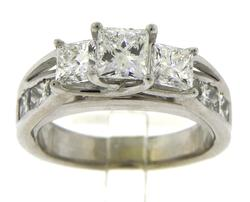 Brilliant 3ctw Princess Cut Diamond Engagement Ring