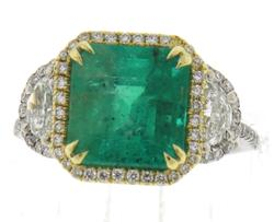 Glowing 18kt Emerald and Diamond Ring