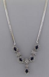 Strong 18kt Blue Sapphire and Diamond Necklace