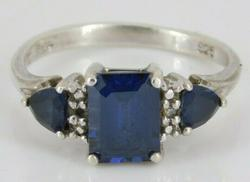 Streling Silver Blue Sapphire Ring