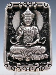 Tibetan Crafted Seated Kwan Yin Buddha Pendant