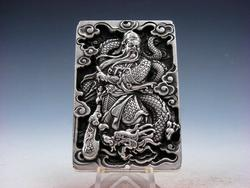 Tibetan Silver Warrior God Sun Yu & Dragon Pendant