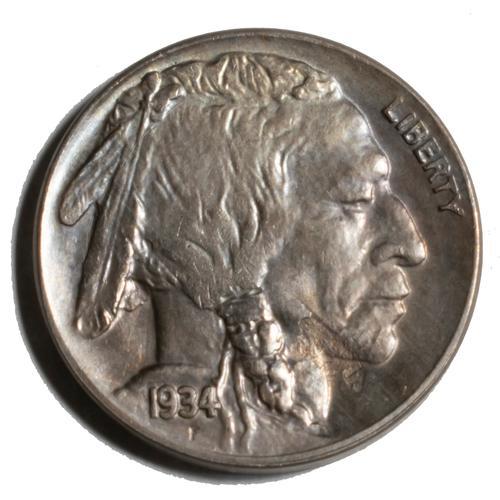 Gem Unc 1934 D Buffalo Nickel