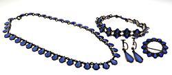 Set of Periwinkle Ename Bracelet, Necklace. Earrings