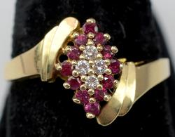 Glittering Diamond & Red Spinel Ring, 14KT Yellow Gold