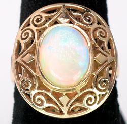 Shimmering Vintage Filigree Opal Ring, 14KT Yellow Gold
