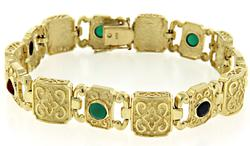 Elegant Black Onyx, Carnelian & Green Agate Bracelet