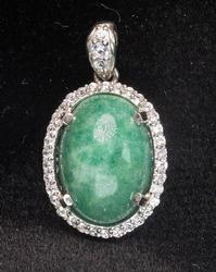 Lovely Cabochon Emerald & Sapphire Pendant, Sterling