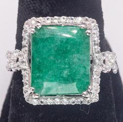 Glittering 7.23CT Emerald & 0.71CTW White Sapphires in Sterling