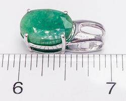 Nice Natural Emerald Pendant in Sterling Silver