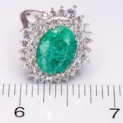 Captivating 4.69CT Emerald & White Sapphire Ring, Sterling