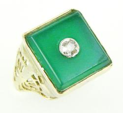 Deco 10K Green Onyx & Diamond Pinkie Ring