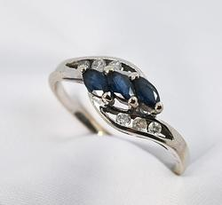 Graceful Sapphire and Diamond Ring in 14K WG