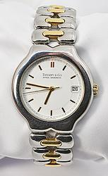 Handsome Tiffany Self-Wind SS and 18K Men's Watch