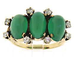 Vintage Chrysoprase and Diamond Yellow Gold Ring