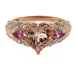 Glowing Pink Topaz and Diamond Accent Heart Ring