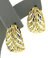 Nice 18kt Diamond Cut Leaf Earrings
