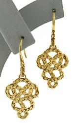 Popular 18kt Cable Texture Knot Dangle Earrings