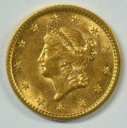 Lustrous BU 1853 US Type One $1 Gold Piece