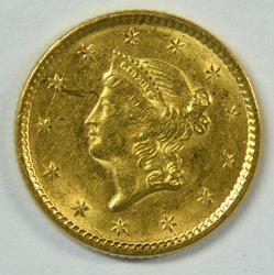 Real flashy 1851 US Type One $1 Gold Piece. Nice