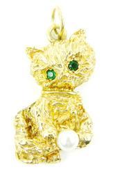 Heavy Vintage 14K Cat Pendant w/Gemstones